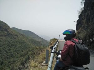 Image of Biker Tarun Bajaj on his solo Bike trip